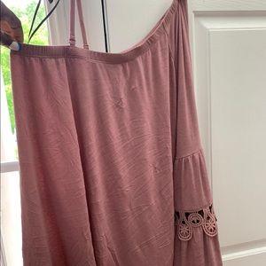 Lapis Tops - Half the shoulder long sleeve blouse
